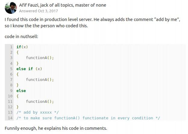 Pire code de développeur