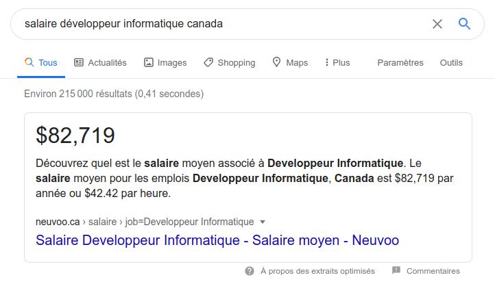 Salaire développeur informatique au Canada