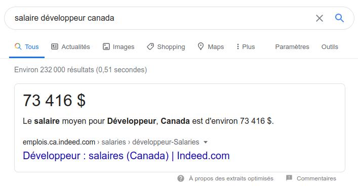 Salaire développeur au Canada