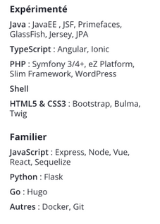 Compétences développement web