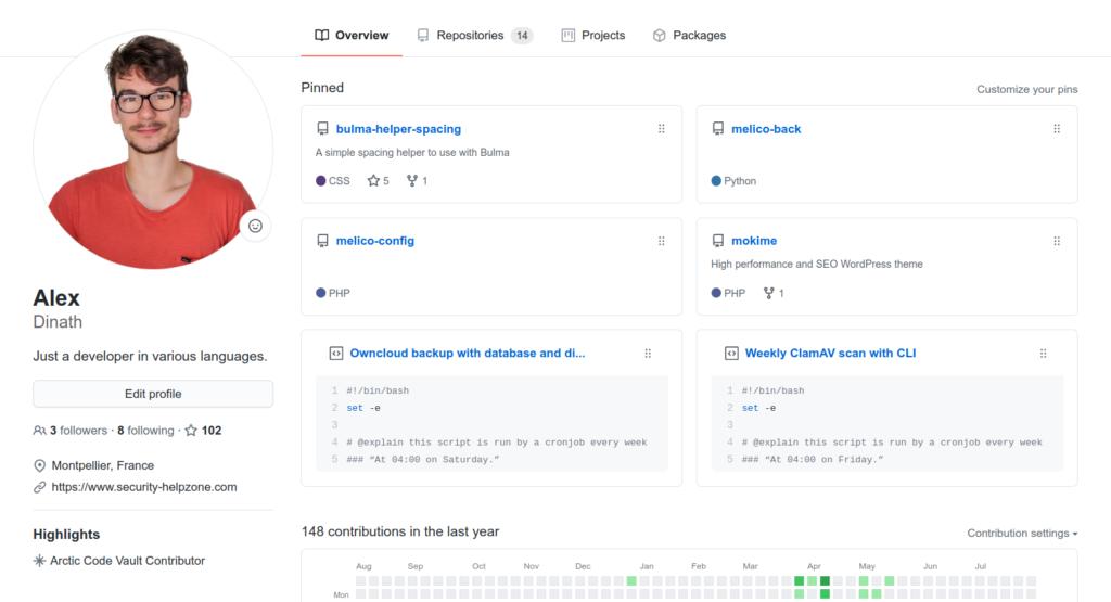 Profil GitHub pour les développeurs
