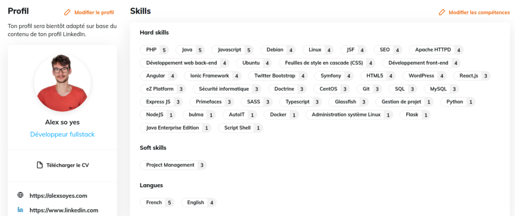 Compétences importé depuis LinkedIn pour un développeur freelance