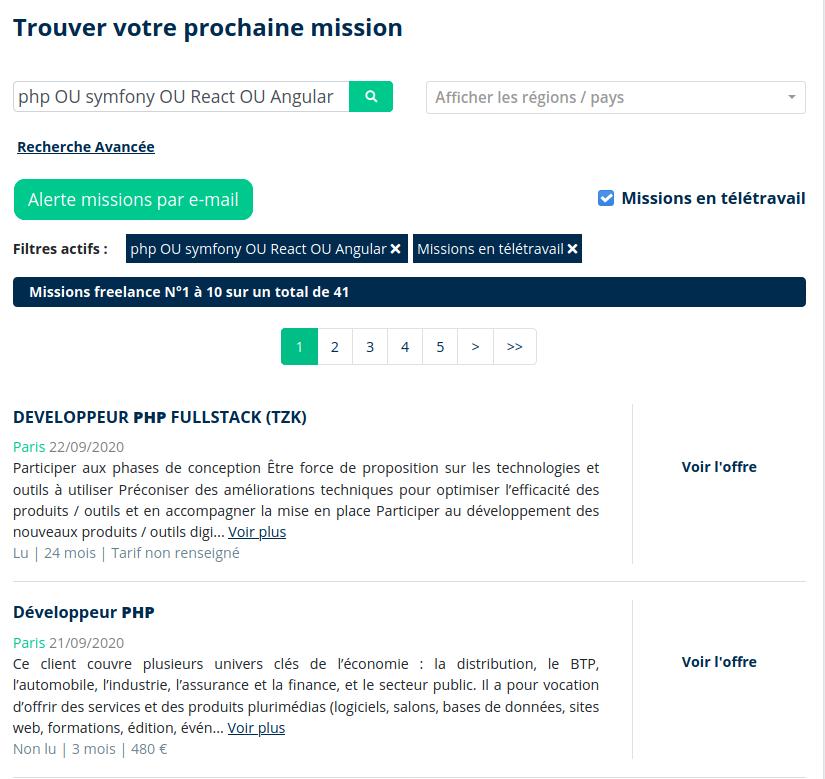 Missions développeur freelance avec alertes