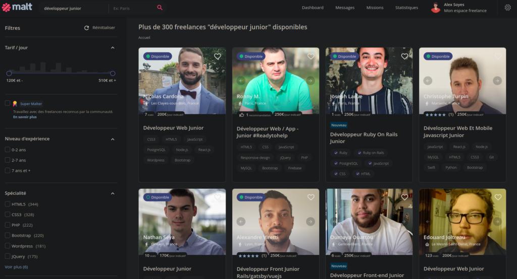Recherche de développeur Junior freelance sur Malt