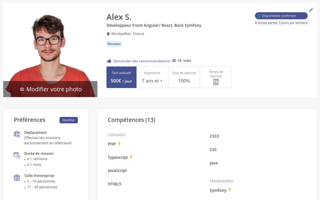 Profil d'un développeur freelance sur Malt