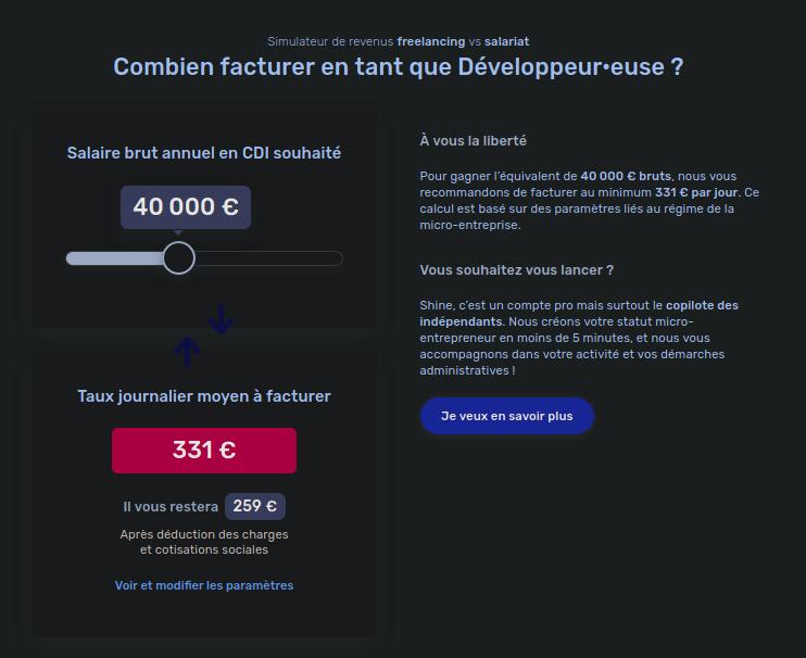 Simulateur TJM pour les développeurs freelances