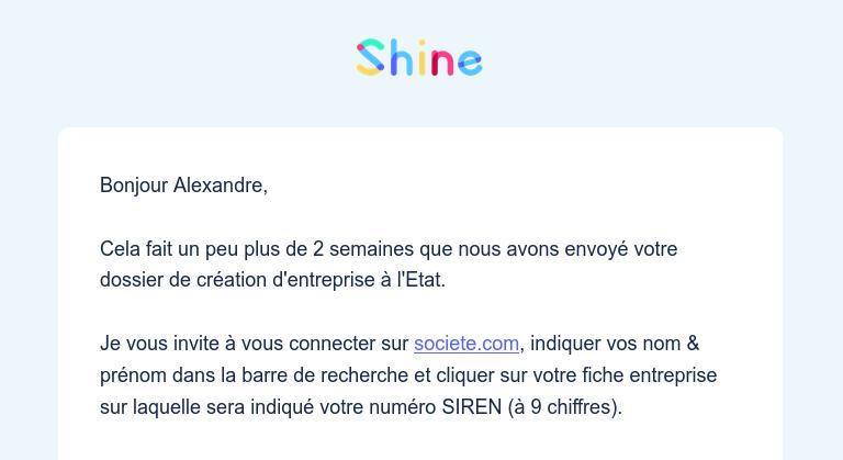 Nouveau numéro de SIREN societe.com avec Shine