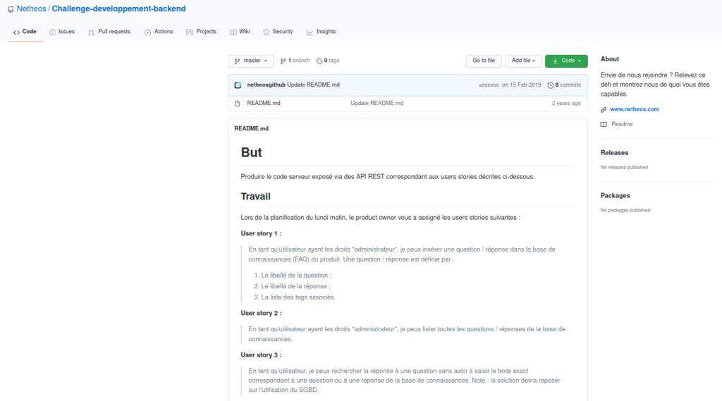 Challenge technique pour un emploi de développeur web Java / Angular