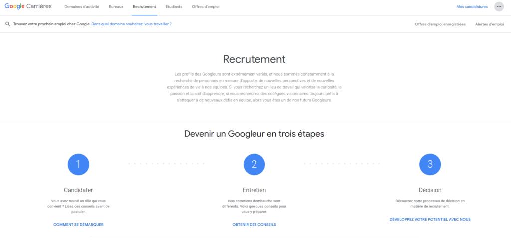 Premier emploi de développeur chez Google