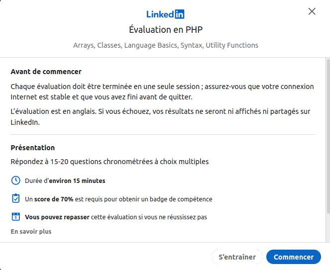 Evaluation des connaissances pour les développeurs sur LinkedIn