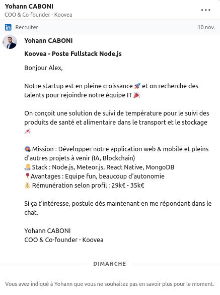 Offre d'emploi pour un développeur pendant la COVID-19