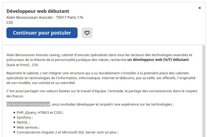 Offre emploi développeur débutant (sans diplôme ?)