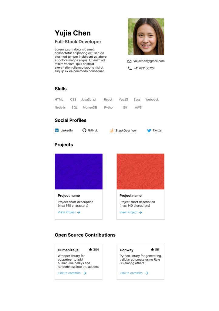 Exemple d'un portfolio de développeur