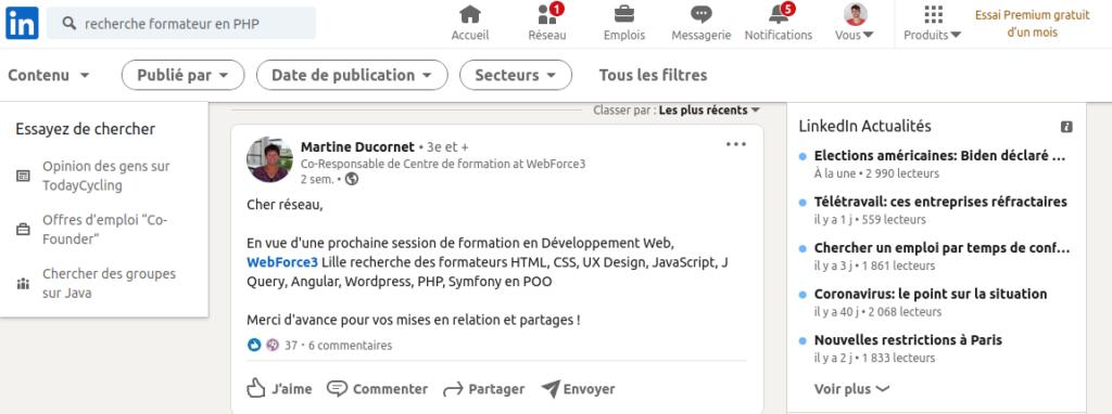 Rechercher poste de formateur en PHP sur LinkedIn