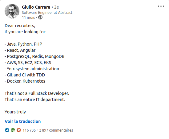 That's not a Full Stack Developer, that's an entire IT department.