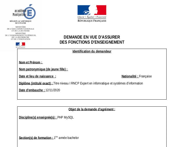 """DEMANDE EN VUE D'ASSURER DES FONCTIONS D'ENSEIGNEMENT"""""""
