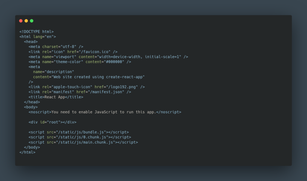 Code HTML React