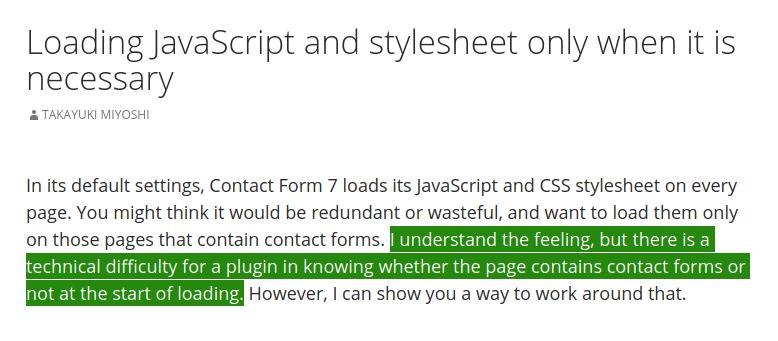 Chargement des assets Contact Form 7 sur toutes les pages, 0 éco-conception web