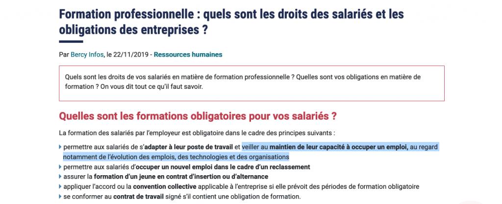 Obligation de former les alariés pour les entreprises françaises
