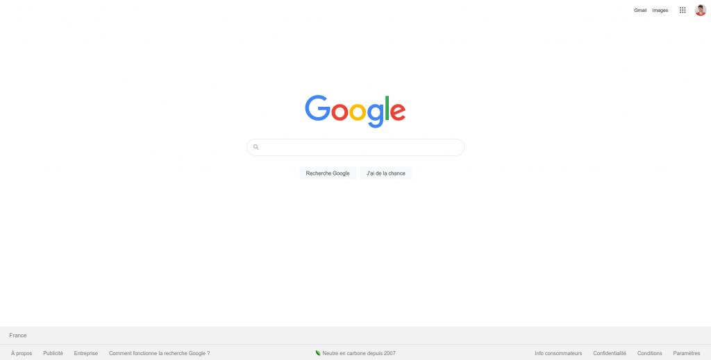Page d'accueil de Google
