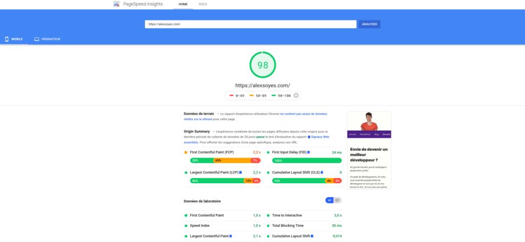 Google Pagespeed pour mesurer l'impact SEO des web vitals
