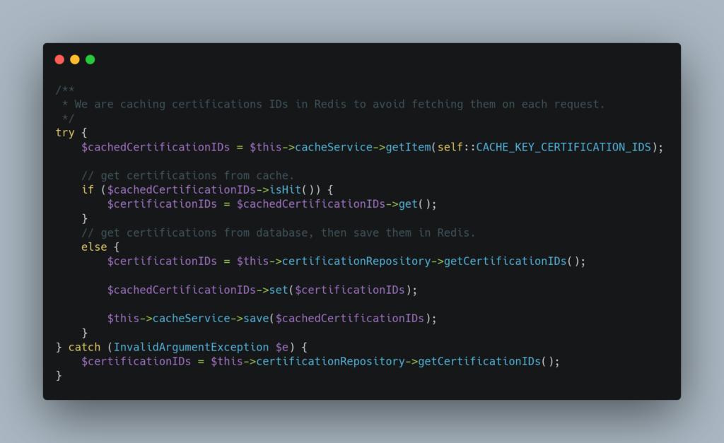 Exemple utilisation cache Redis en PHP
