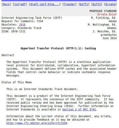 RFC 7234 - Le cache HTTP