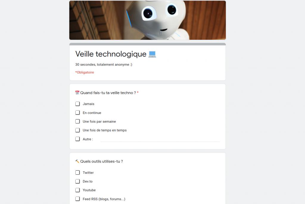 Veille technologique, sondage pour les développeurs