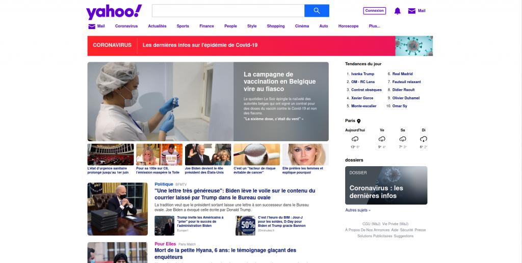 Page d'accueil de Yahoo!