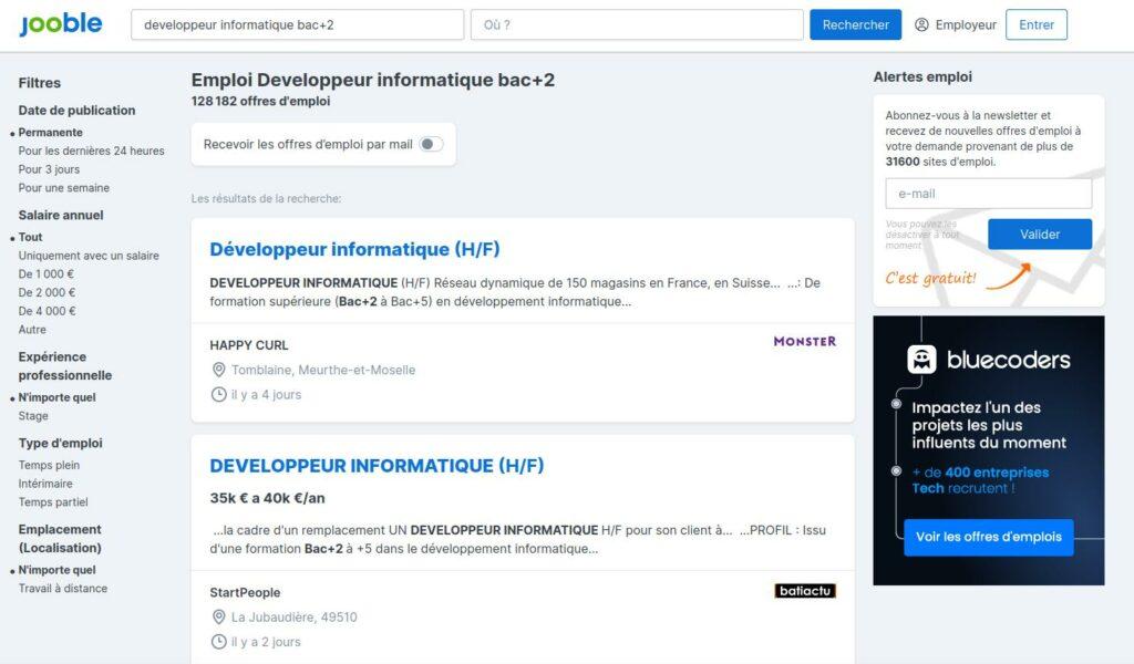 Emploi développeur Bac+2