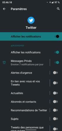Désactiver les notifications Twitter