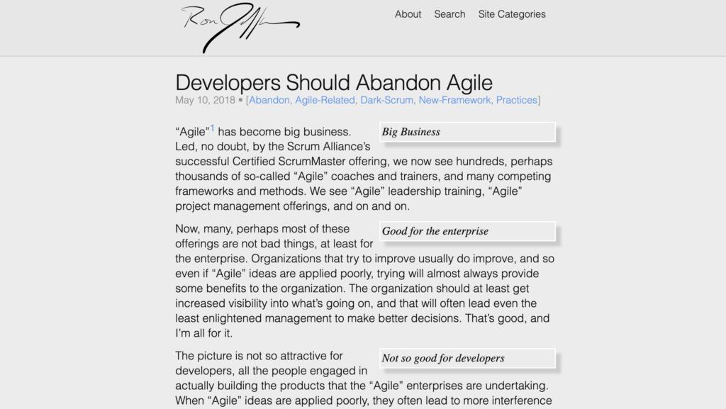 Les développeurs doivent abandonner la méthode agile