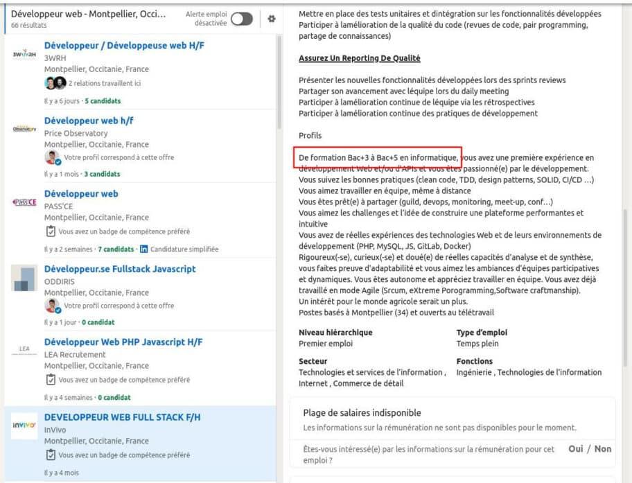 Offre développeur web LinkedIn, niveau d'étude de Bac +3 à Bac +5