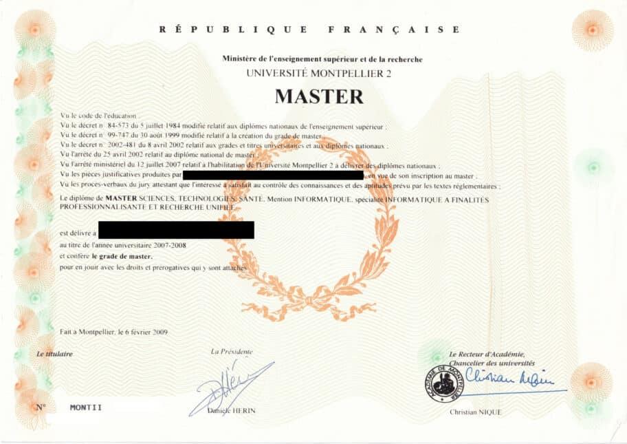 Master sciences, technologies, santé, mention informatique